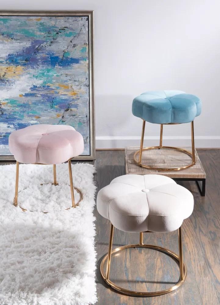 Linon Home Decor Products Tabouret De Toilette Delilah Accent Bleu Home Depot Canada
