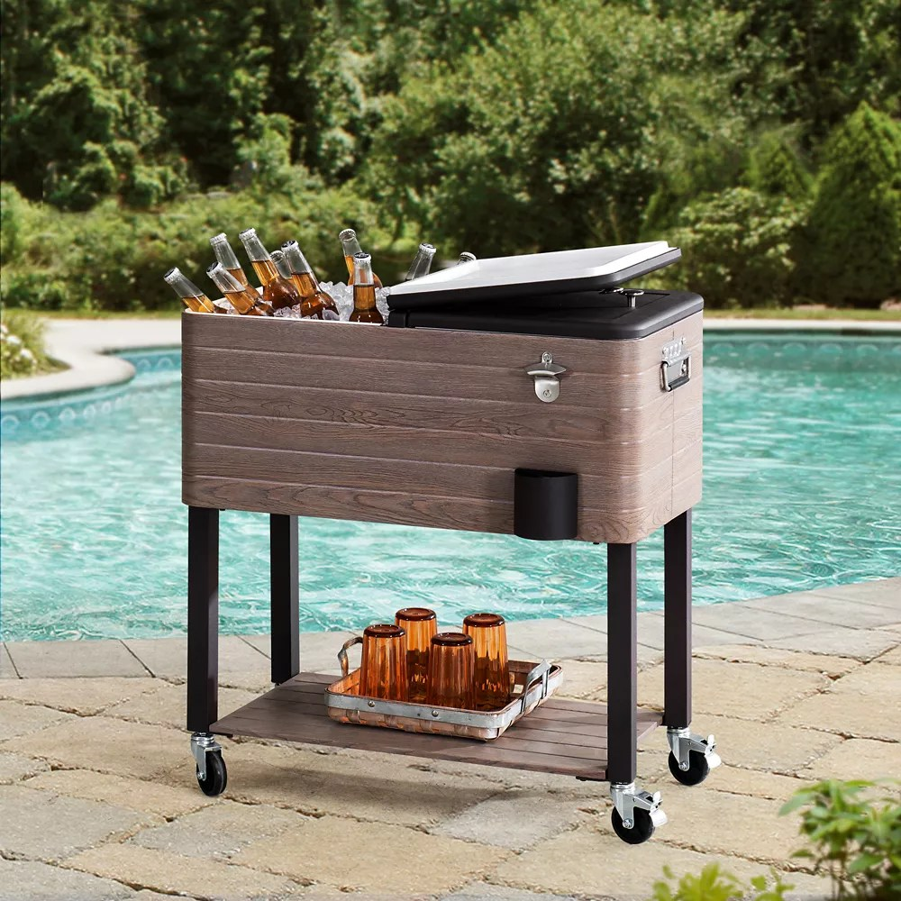 alabama 80 quart rolling ice chest portable patio party drink cooler cart