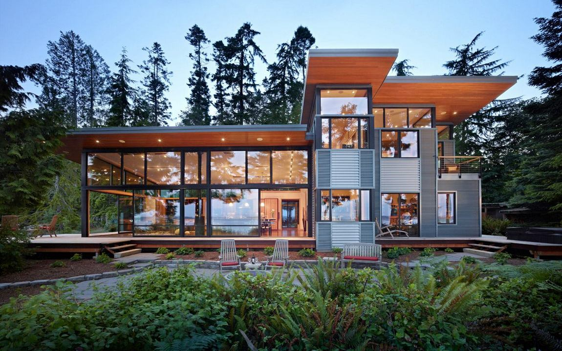 Modern waterfront house with high glass walls - Modern ... on Glass House Design Ideas  id=49418
