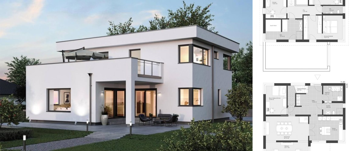 House Design with flat roof in Bauhaus style