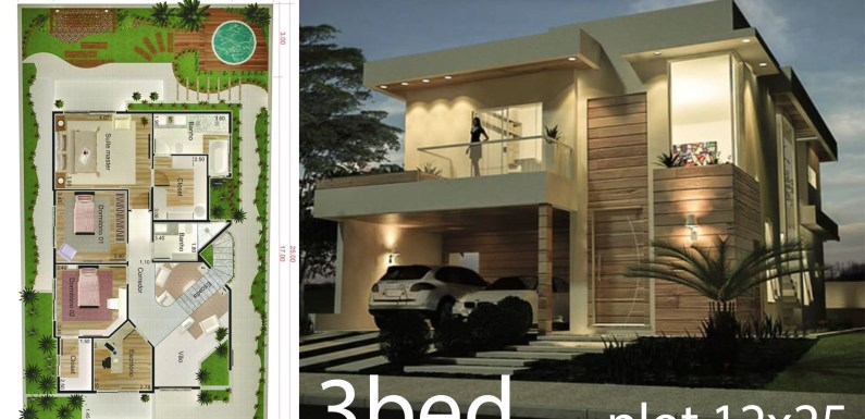 3 Bedrooms Home Design 12×25 meters