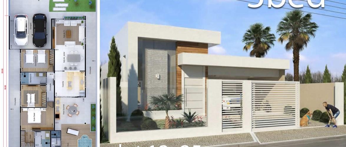 Home Design 12×25 Meters 3 Bedrooms