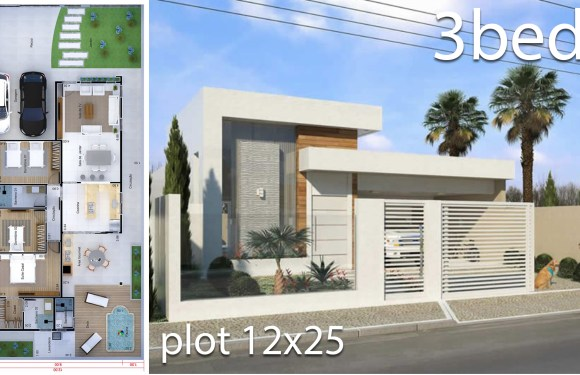 Home Design 12×25 Meters 3 Bedrooms