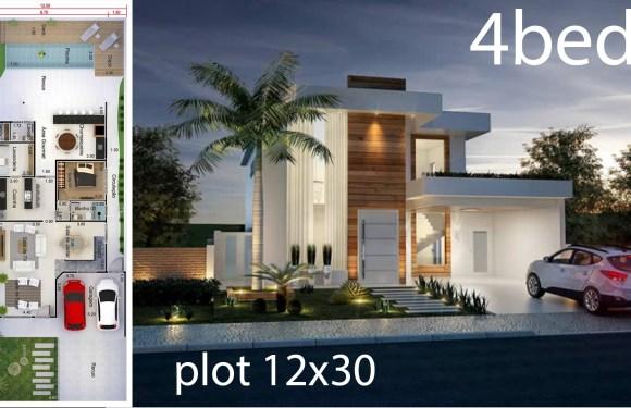 Home Design 12×30 Meters 4 Bedrooms