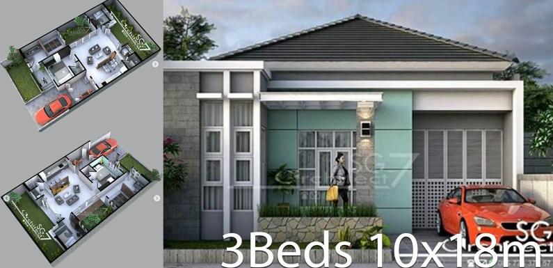 2 Bedrooms home design plan 10x18m
