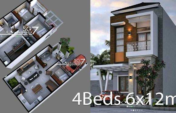 4 Bedrooms Home design plan 6x12m