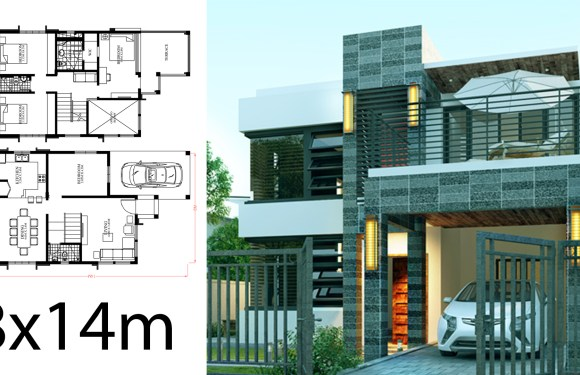 Home Design Plan 8x14m with 4 Bedrooms