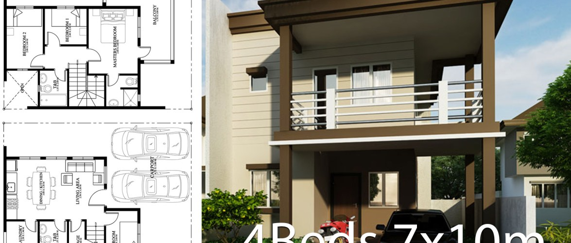 Home Design Plan 7x10m With 4 Bedrooms