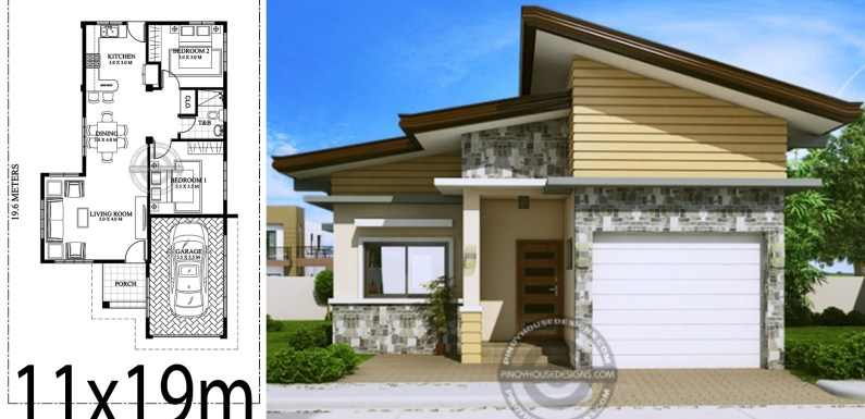 Home design plan 11x19m with 2 bedrooms