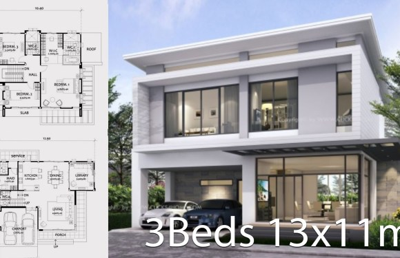 Home design 13x11m with 3 bedrooms