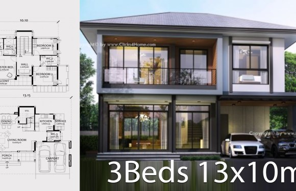 Home design Plan 13x10m with 3 bedrooms