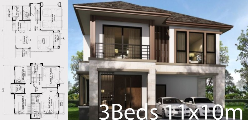 Home design plan 11x10m with 3 bedrooms