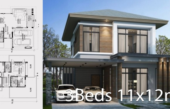 Home design plan 11x12m with 3 bedrooms