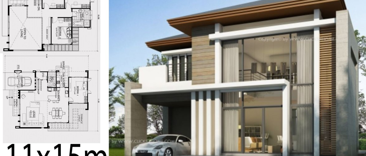 Home design 11x15m with 4 Bedrooms