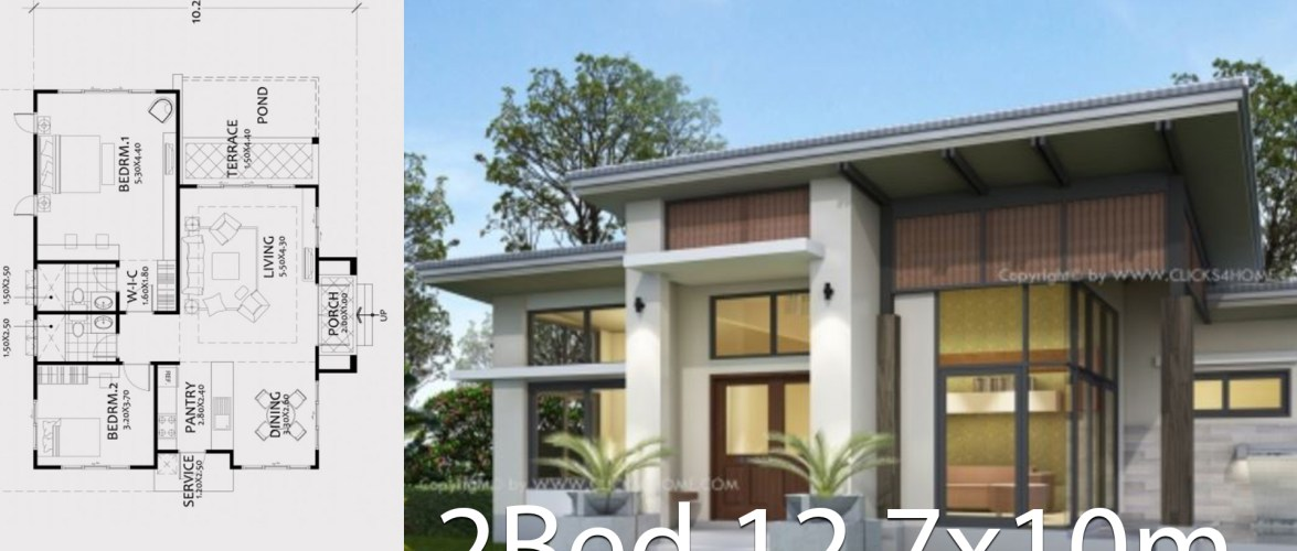 Home design plan 12.7x10m with 2 Bedrooms