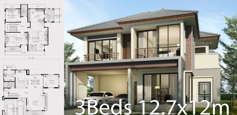 Home design plan 12.7x12m with 3 bedrooms