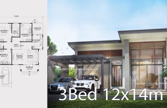 Home design plan 12x14m with 3 bedrooms