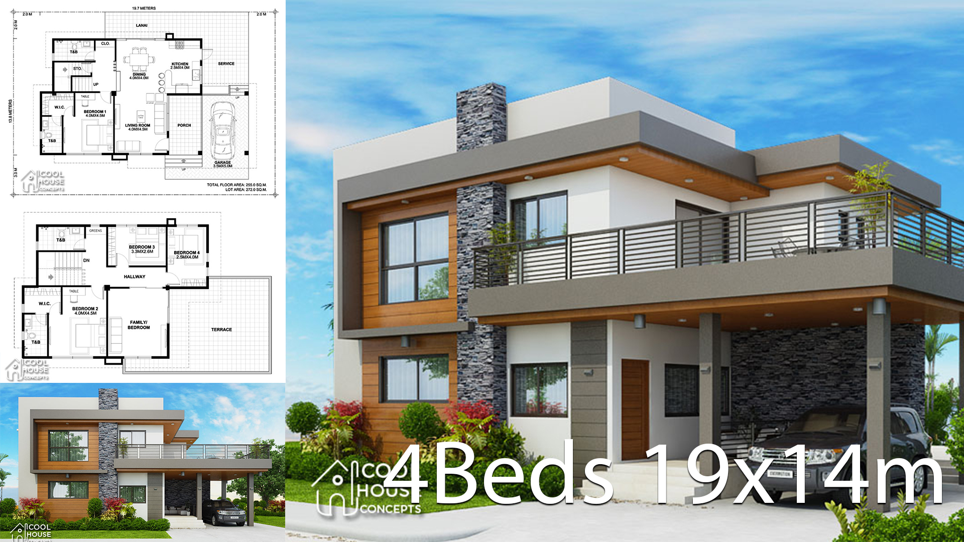 Home design plan 19x14m with 4 bedrooms - Home Ideas
