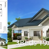 Home design plan 19x15m with 3 Bedrooms