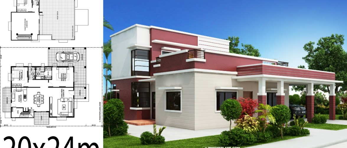 Home design plan 20x24m with 3 Bedrooms