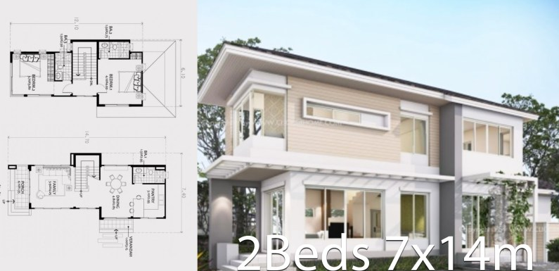 Small two-story house plan 7x14m