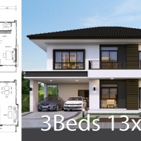 House design plan 13x9.5m with 3 bedrooms