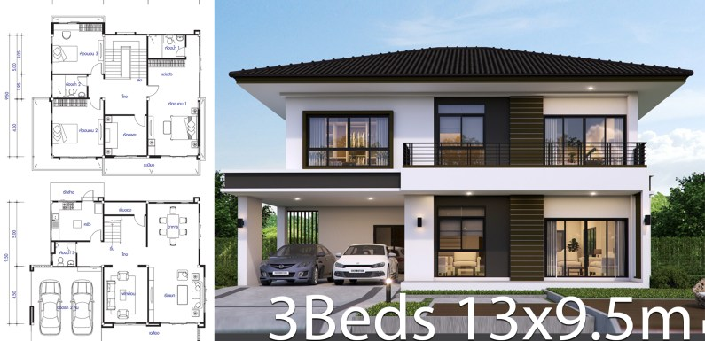 House design plan 13×9.5m with 3 bedrooms