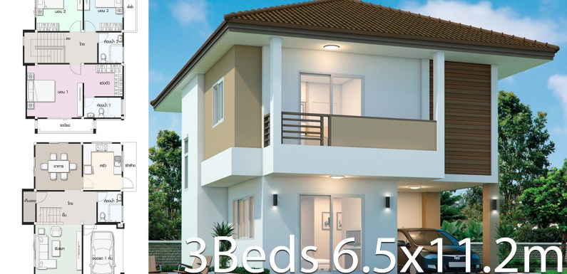 House design plan 6.5×11.2m with 3 bedrooms
