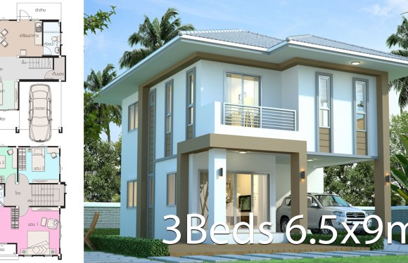 House design plan 6.5x9m with 3 bedrooms