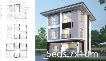 House design plan 7.7x10.7m with 5 bedrooms - Home Ideas