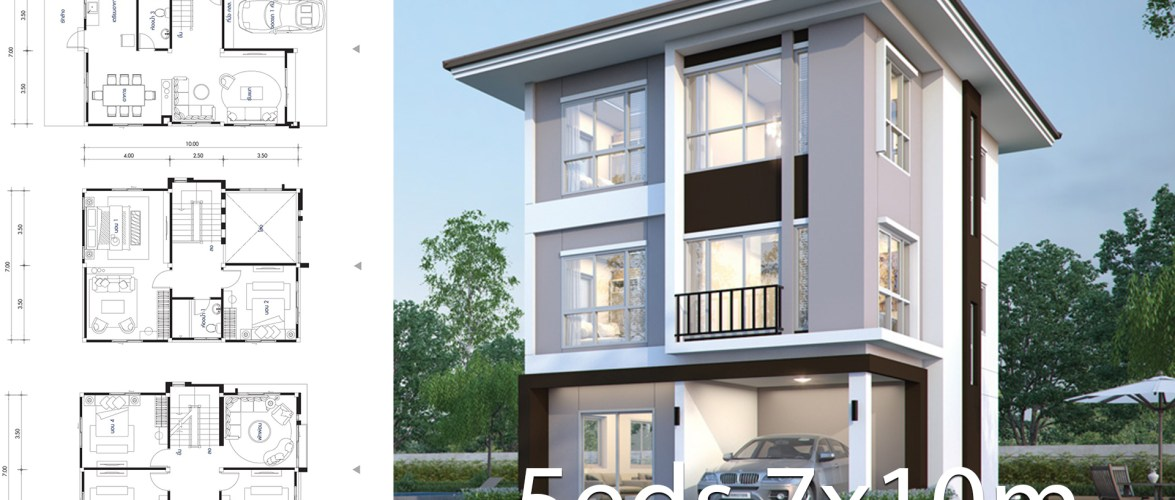 House design plan 7.6×10.6m with 5 bedrooms