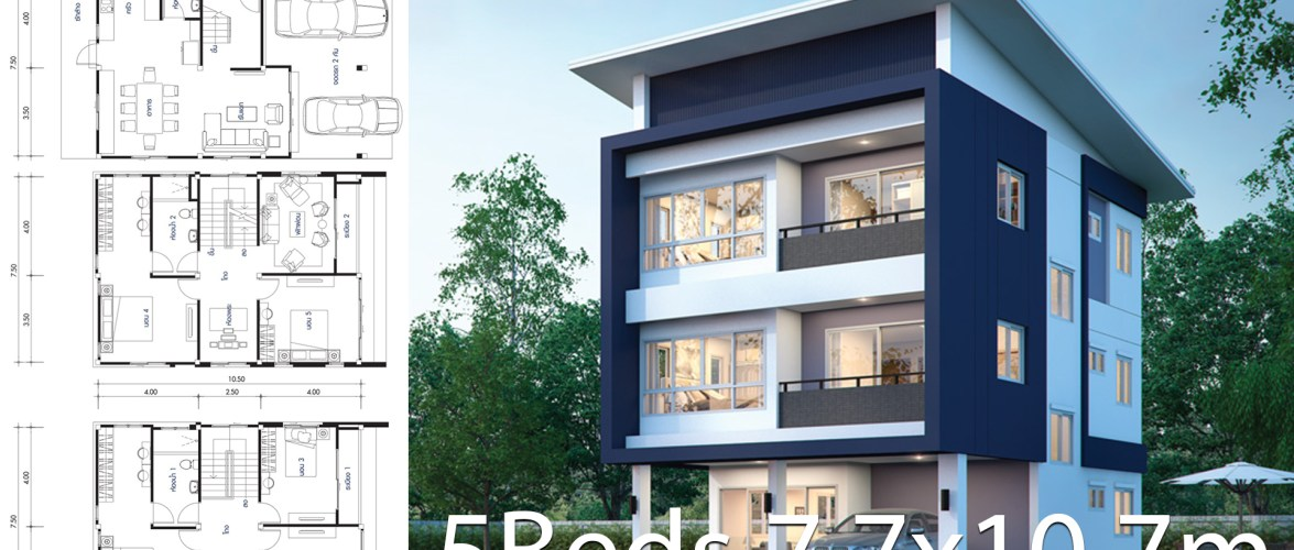 House design plan 7.7×10.7m with 5 bedrooms