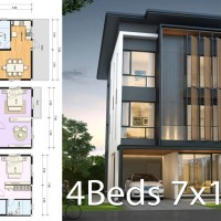 House design plan 7x10.5m with 4 bedrooms