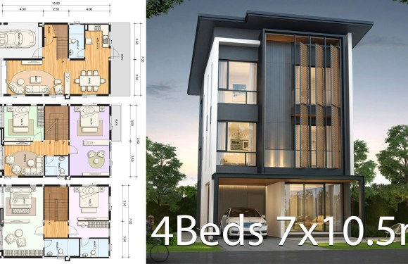 House design plan 7×10.5m with 4 bedrooms