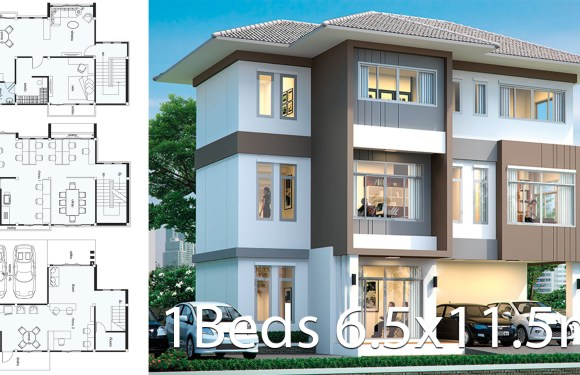 Office House design plan 6.5×11.5m