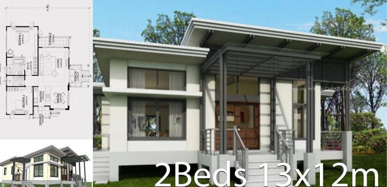 One story house plan 13x12m with 2 bedrooms