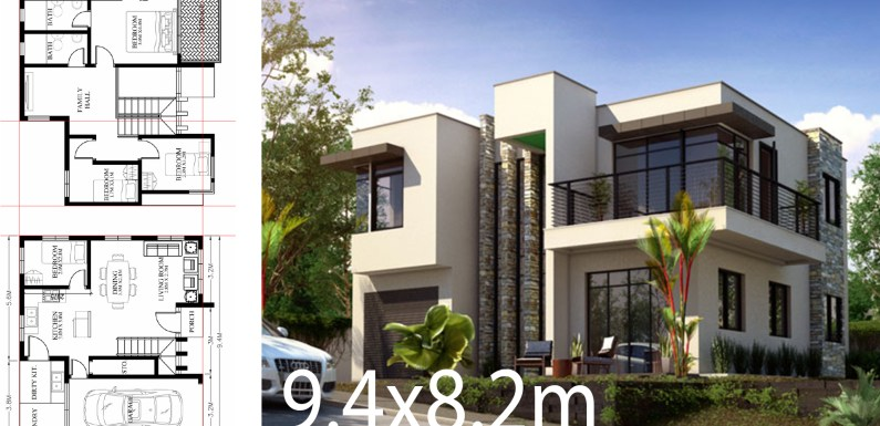 Small Home design plan 9.4×8.2m with 4 Bedrooms