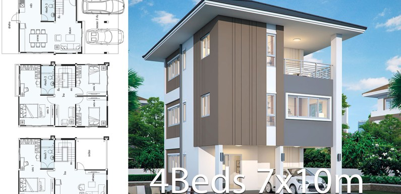 Home design 7x10m with 4 bedrooms