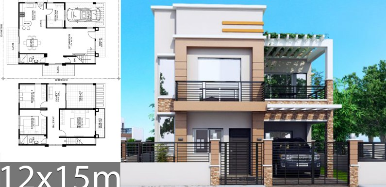 House Plans 12x15m with 4 bedrooms
