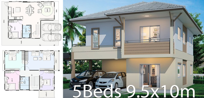 House design 9.5x10m with 5 bedrooms