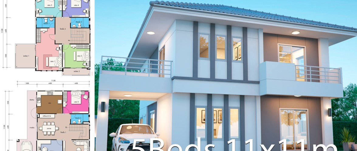 House design plan 11x11m with 5 bedrooms