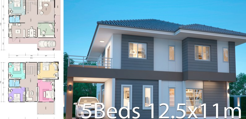 House design plan 12.5x11m with 5 bedrooms
