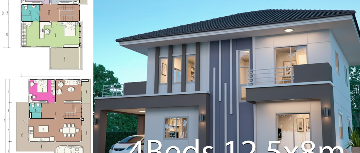 House design plan 12.5x8m with 4 bedrooms