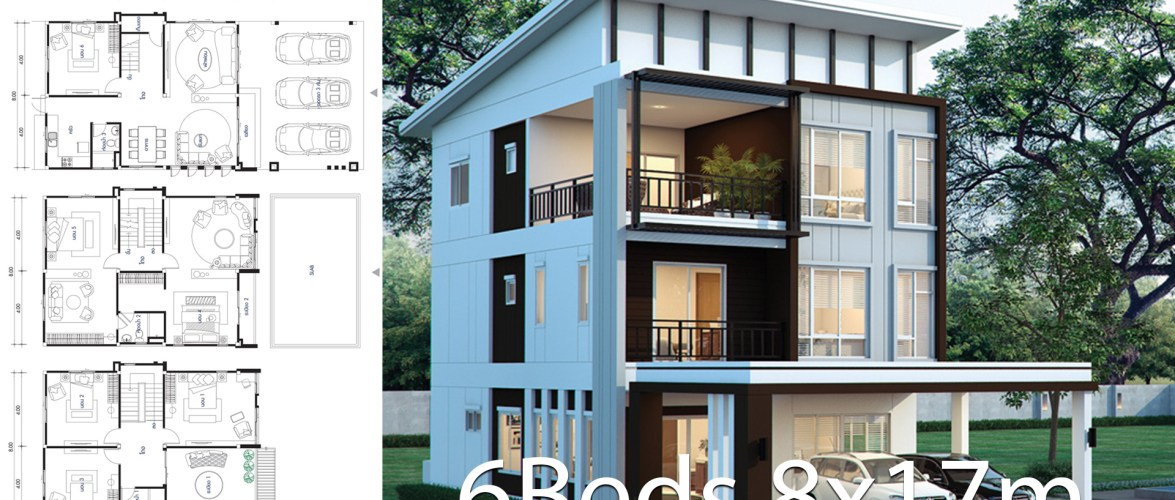 House design plan 8x17m with 6 bedrooms