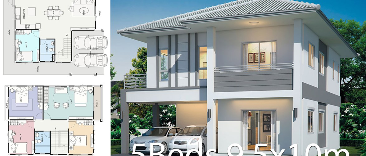 House design plan 9.5x10m with 5 bedrooms