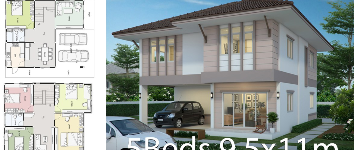 House design plan 9.5x11m with 5 bedrooms