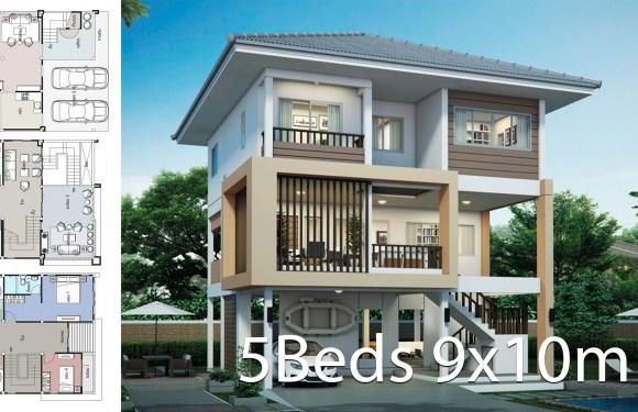 House design plan 9x10m with 5 bedrooms