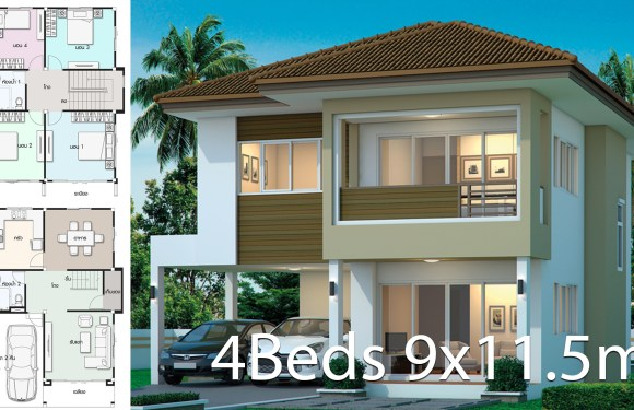 House design plan 9×11.5m with 4 bedrooms