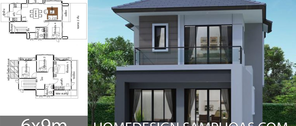 Small Home Plans 6x9m with 4 Bedrooms