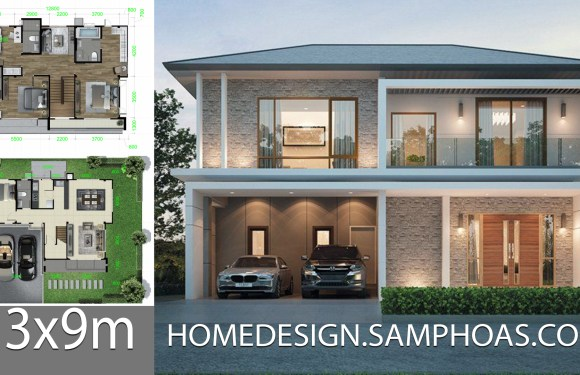 Home design plan 13x9m with 4 bedrooms